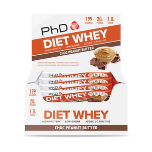 PhD Diet Whey Bar Protein Bar - Choc Peanut Butter - 12 x 65g